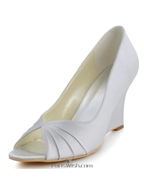 297c74c7e45 Peep Toe Satin Silver High Wedge Wedding Prom Shoes Online