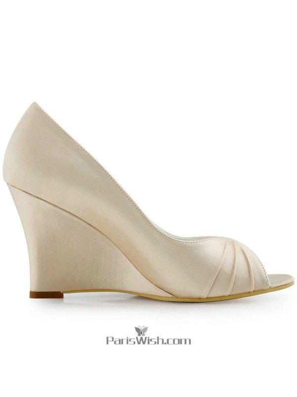 84d041ab499 Peep Toe Satin Champagne High Wedge Wedding Prom Shoes Online