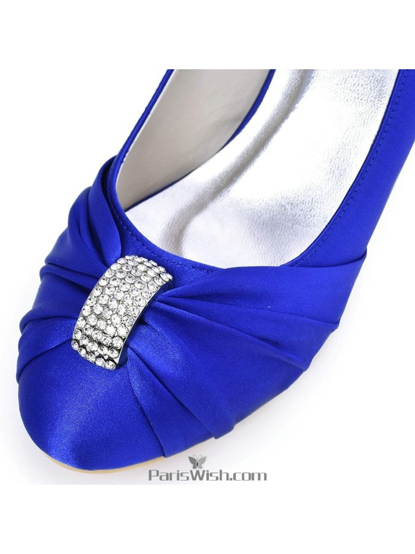 295c1b3447b ... Mid Heel Satin Royal Blue Evening Prom Pumps With Kitten Heels ...