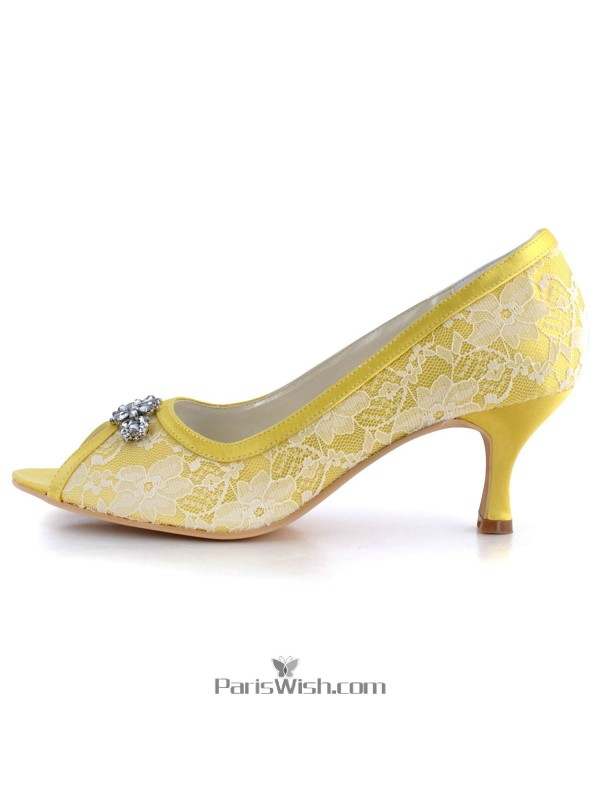 8fbe6a6c210 Mid Heel White With Yellow Lace Bridal Evening Pumps