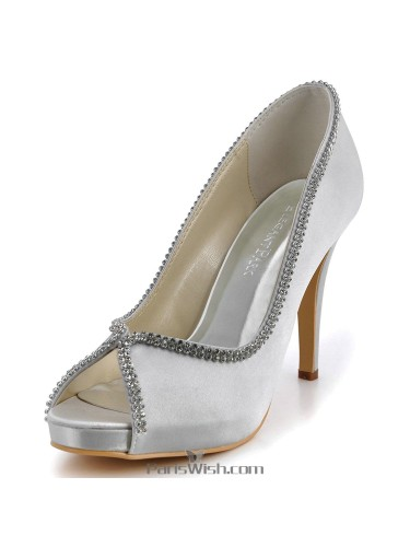 Peep Toe Satin Crystal Silver Bridesmaid Evening Prom Wedding Shoes
