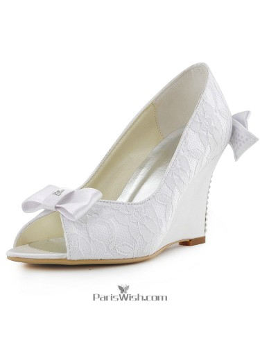 Ankle Strap Lace Wedge Comfortable Wedding Shoes