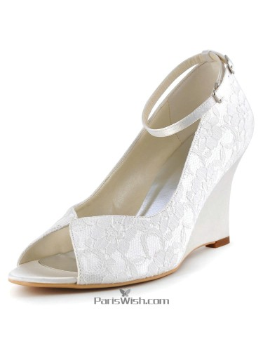 Ankle Strap Lace Wedge Evening Heels Comfortable Wedding Shoes