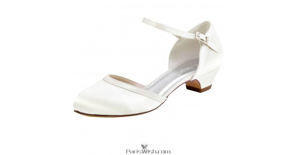 Comfortable Low Heel Wedding Shoes: Ankle Strap Low Heel Chunky Wedding Bridal Shoes
