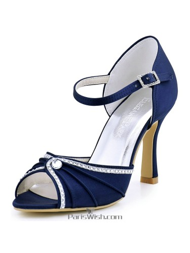 Ankle Strap Pleated Satin Navy Blue Evening Wedding Pumps