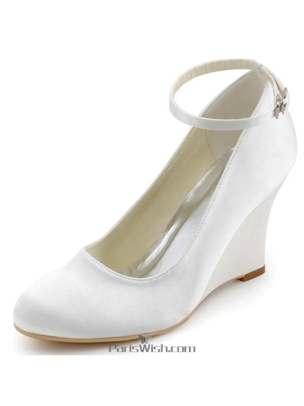 Ankle Strap Satin Silver Wedge Wedding Shoes Comfortable Bridal ...