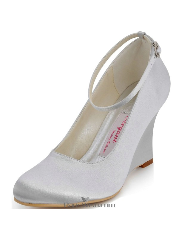 278f453d7c9 Ankle Strap Satin Silver Wedge Wedding Shoes Comfortable Bridal ...