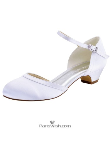 Ankle Strap White Low Heel Chunky Wedding Bridal Shoes Comfortable