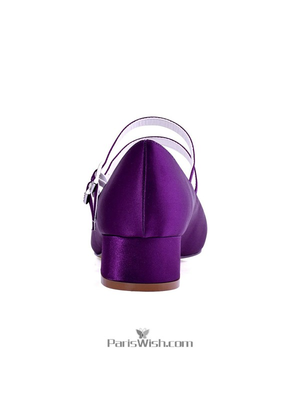 ... Ankle Straps Satin Purple Low Heel Bridesmaid Wedding Bridal Shoes With  Block Heels