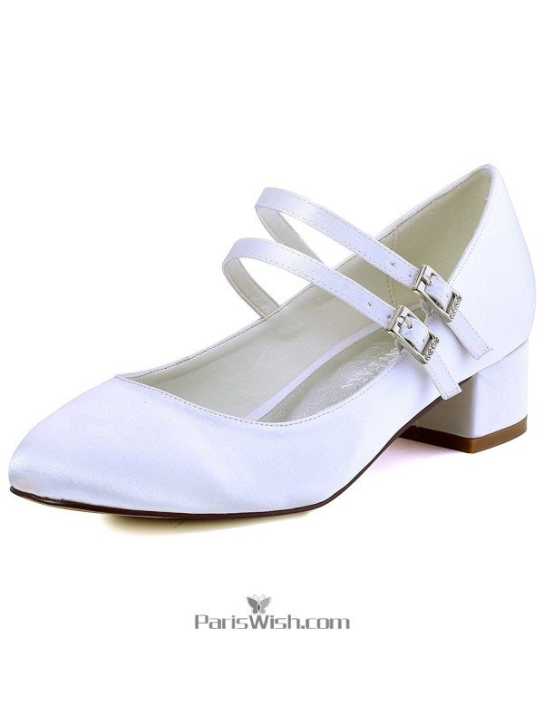 Ankle Straps Satin White Low Heel Bridesmaid Wedding Bridal Shoes With  Block Heels