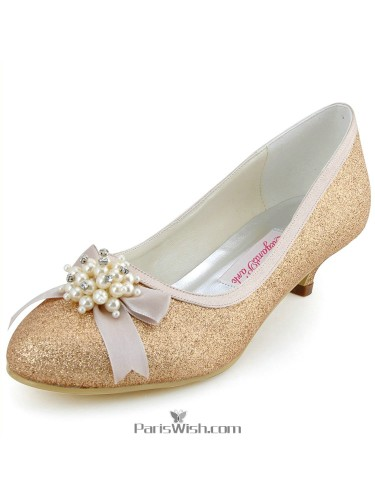 Glitter Sequin Low Heel Champagne Evening Wedding Shoes