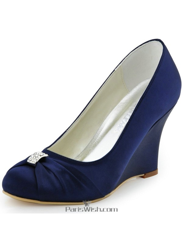 High heel navy blue wedge bridal wedding shoes with brooch online high heel navy blue wedge bridal wedding shoes with brooch junglespirit Choice Image