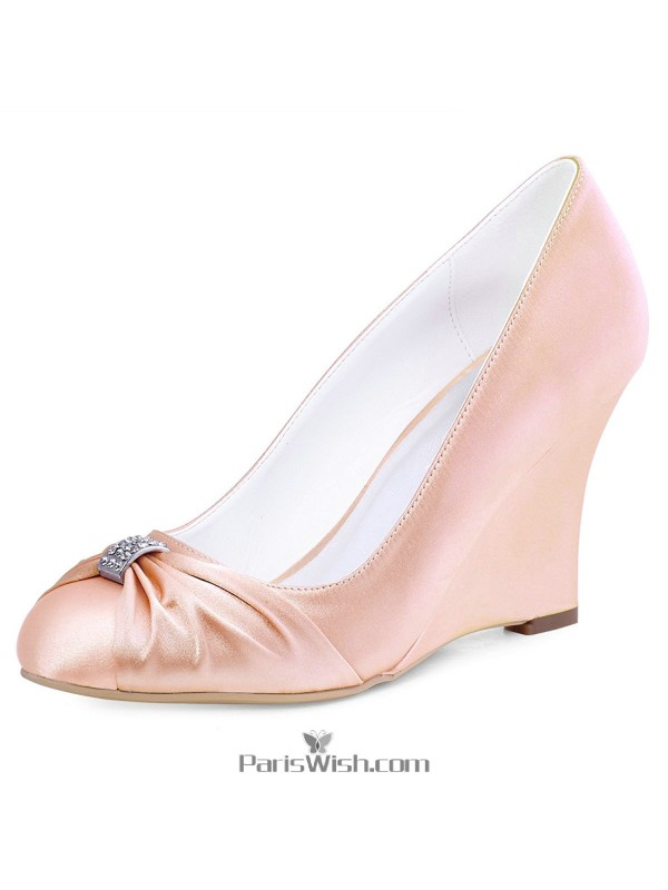 High Heel Pink Wedge Bridal Wedding Shoes With Brooch