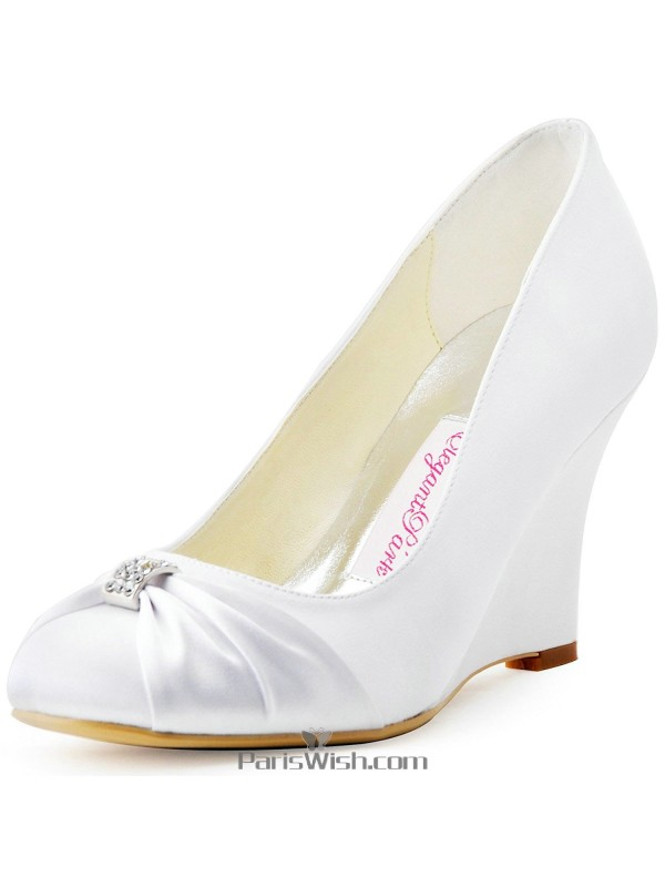 High Heel White Wedge Bridal Wedding Shoes With Brooch Online