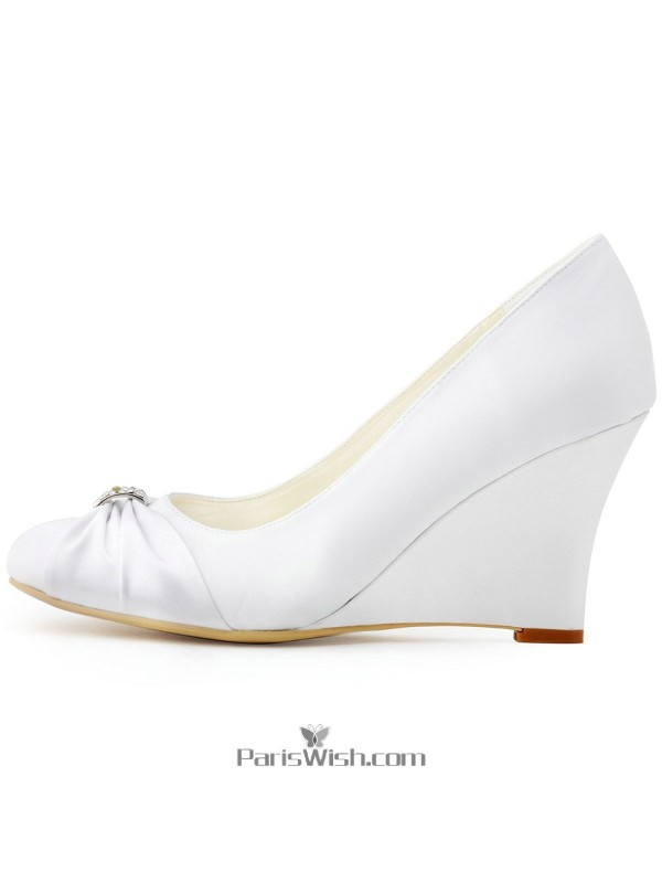 5cefbc208ef High Heel White Wedge Bridal Wedding Shoes With Brooch Online