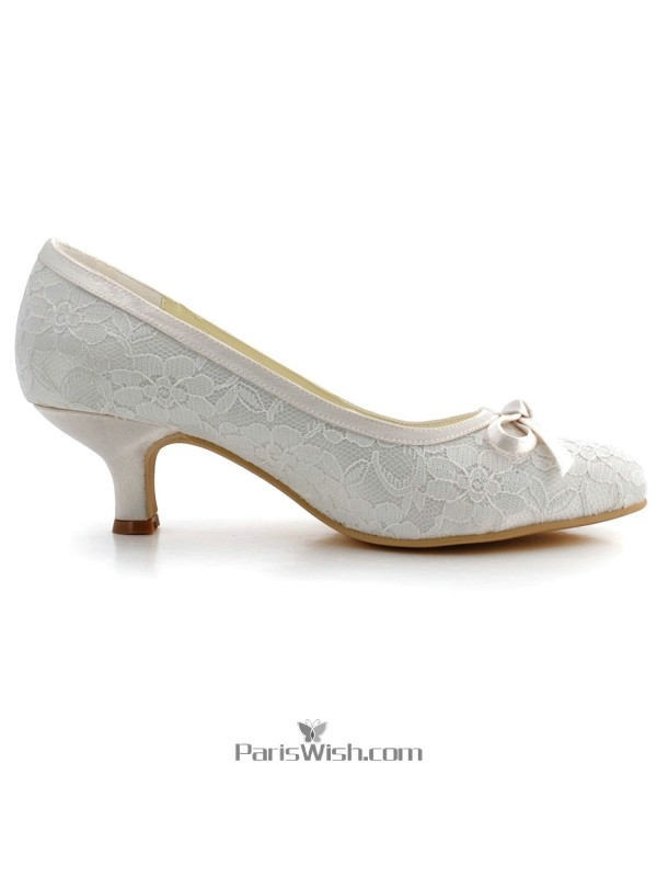 777a38606 ... Kitten Heel Low Heel Ivory Lace Wedding Bridal Shoes ...