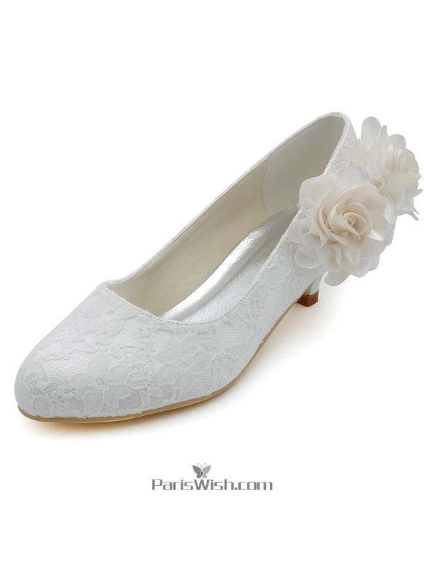 Kitten Low Heel White Lace Wedding Bridal Shoes With Flower