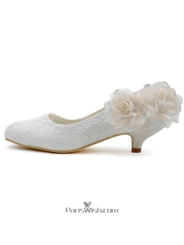 ... Kitten Low Heel White Lace Wedding Bridal Shoes With Flower ...