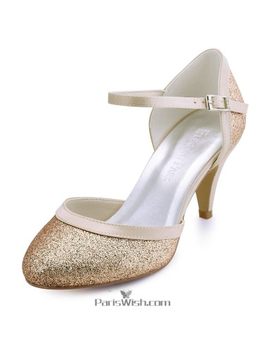 Gold wedding shoesgold evening shoes pariswish mid heel gold sequin prom wedding shoes with ankle strap junglespirit Gallery