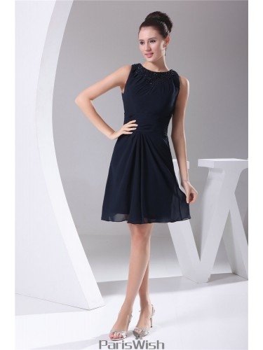 Elegant Navy Cocktail Dresses With High Neck