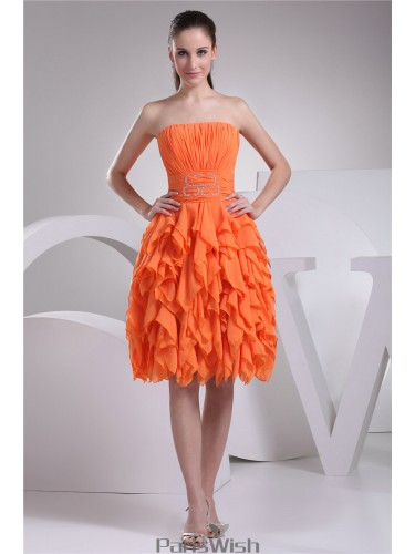 Strapless Pleated Orange Homecoming Dresses With Ruffles