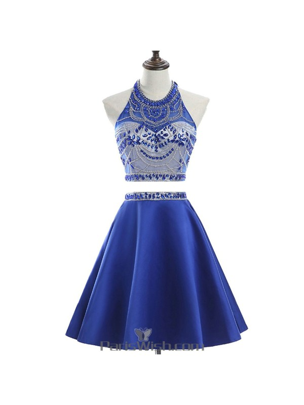 A Line Satin Backless Two Piece Royal Blue Prom Dresses