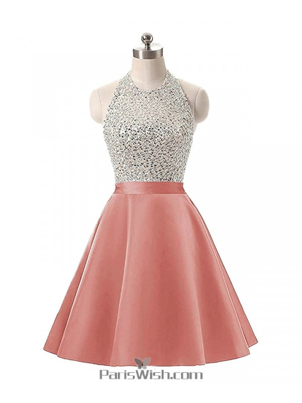 A Line Satin Sequin Beaded Gold Halter Plus Size Prom Formal Dresses