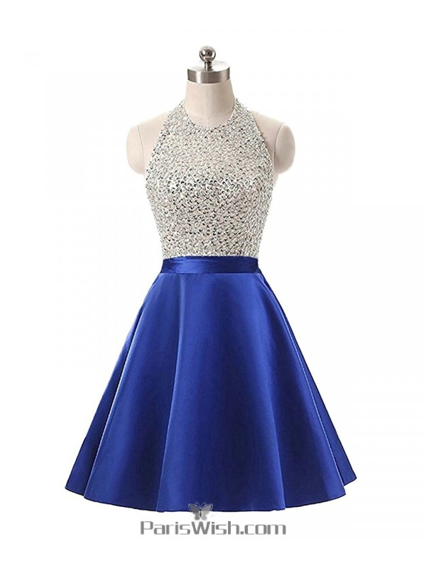 665166fe4c2 A Line Satin Sequin Beaded Royal Blue Halter Plus Size Prom Formal Dresses