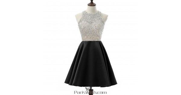 A Line Satin Sequin Black Plus Size Short Prom Dresses Homecoming Dress  With Open Back