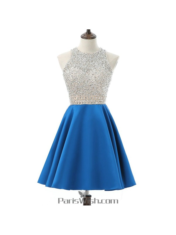 A Line Satin Sequin Blue Plus Size Short Prom Dresses Homecoming ...