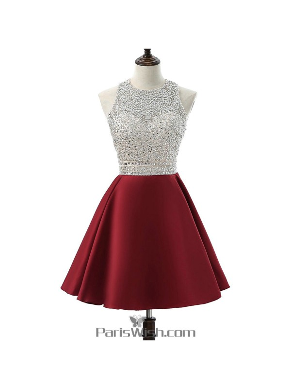 A Line Satin Sequin Burgundy Plus Size Short Prom Dresses ...