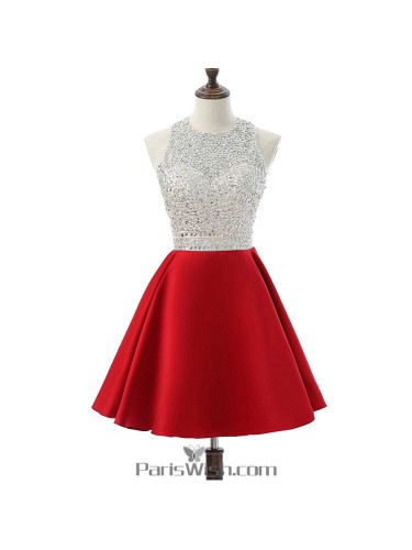 A Line Satin Sequin Red Plus Size Short Prom Dresses Homecoming ...