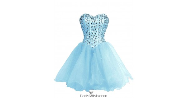 A Line Tulle Aqua Plus Size Homecoming Dress Short Prom Dresses With ...