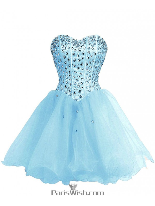 A Line Tulle Aqua Plus Size Homecoming Dress Short Prom Dresses With