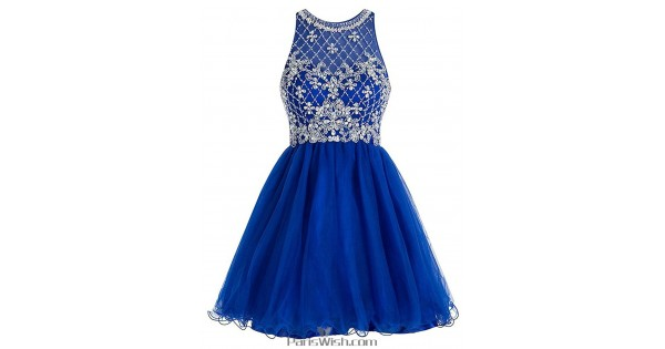 A Line Tulle Beaded Short Royal Blue Plus Size Formal Prom Dresses