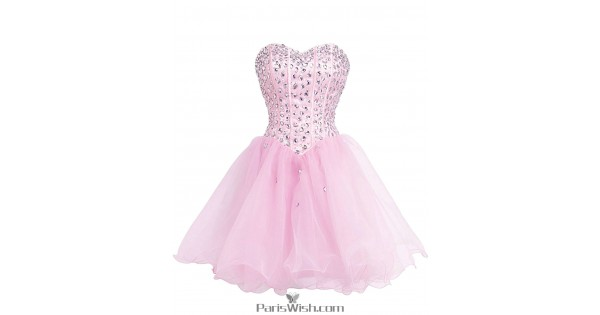 A Line Tulle Pink Plus Size Homecoming Dress Short Prom Dresses With ...