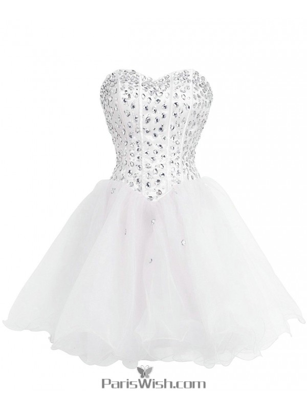 A Line Tulle White Plus Size Homecoming Dress Short Prom ...