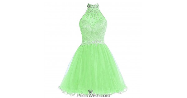 Beaded Rhinestone Halter Plus Size Homecoming Dresses Apple Green ...