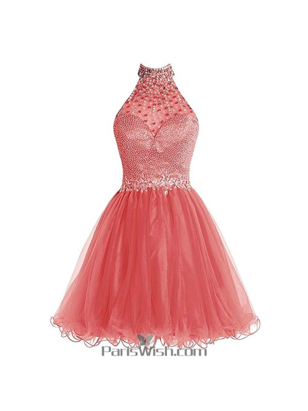 Beaded Rhinestone Halter Plus Size Homecoming Dresses Water Melon ...