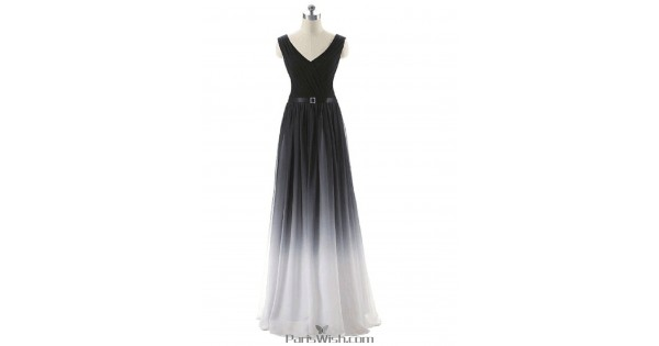 Chiffon Full Length V Neck Black With White Ombre Evening Prom Dresses Ribbon