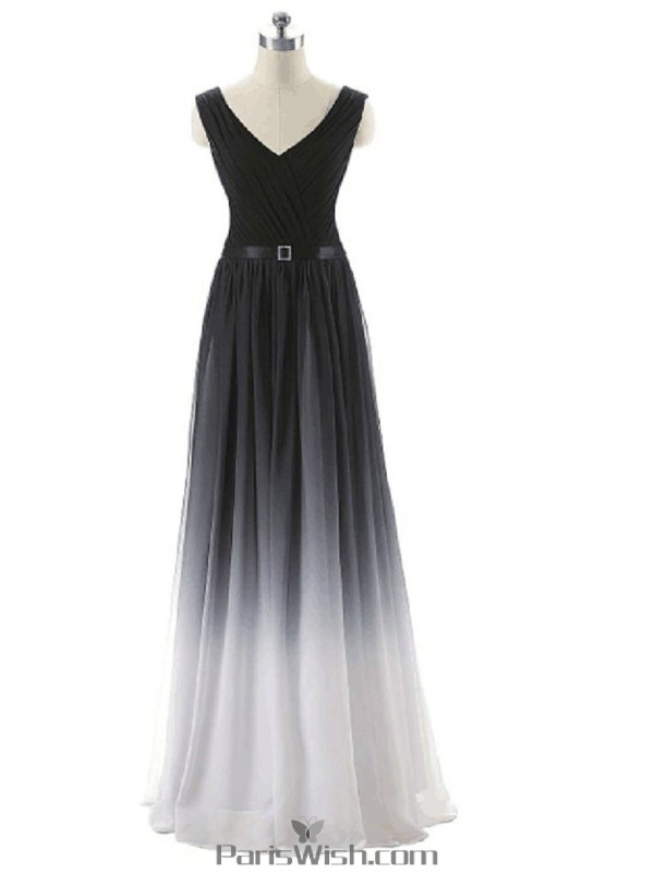 Chiffon Full length V Neck Black With White Ombre Evening Prom ...