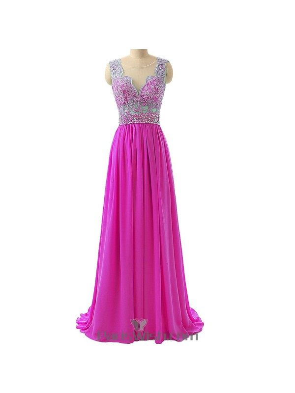 Chiffon Lace Sequin Scalloped Illusion Pink Prom Formal Dresses