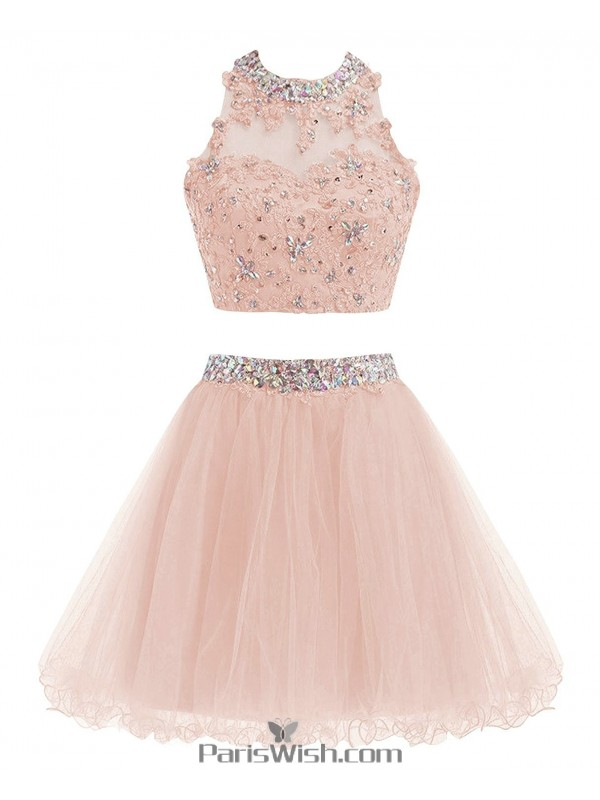 9dbbca95e19 Crop Top Beaded A Line Blush Pink Two Piece Prom Cocktail Dresses With Open  Back