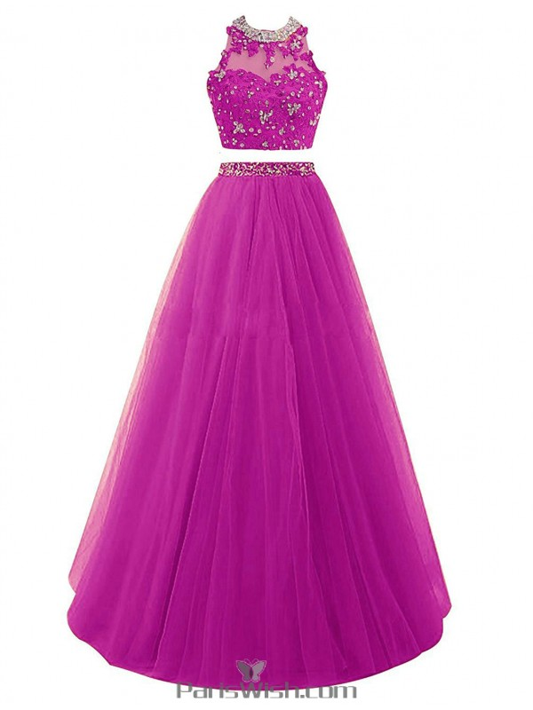 Embroidered Crystal Tulle Two Piece Purple Prom Formal Dresses With ...