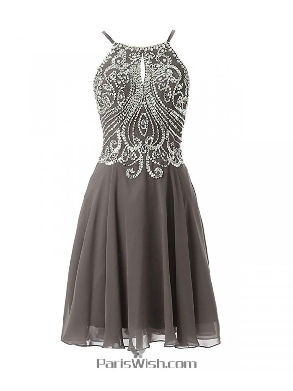 Knee Length Chiffon Spaghetti Beaded Grey Homecoming Dress ...