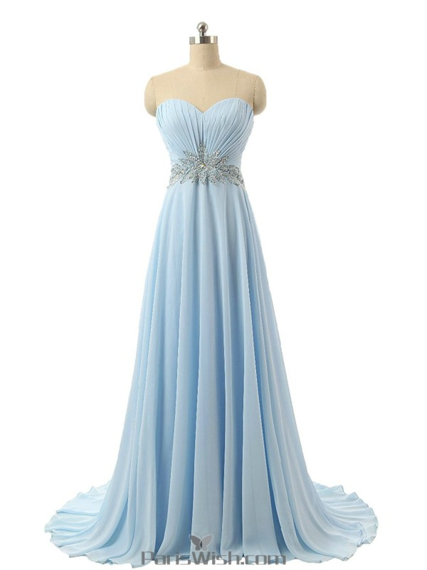 Pleated Chiffon Empire Waist Sky Blue Plus Size Prom Dresses ...