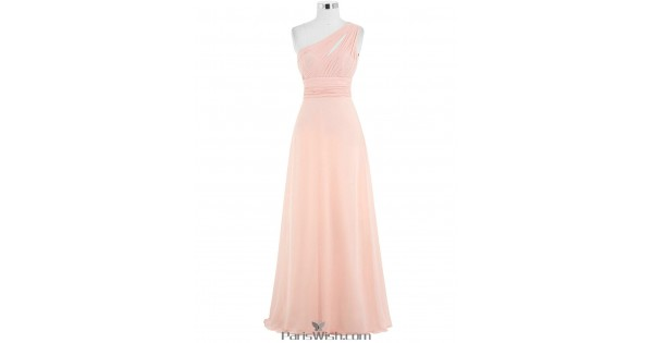 Pleated Chiffon One Shoulder Peach Bridesmaid Dress Plus Size Prom Dress