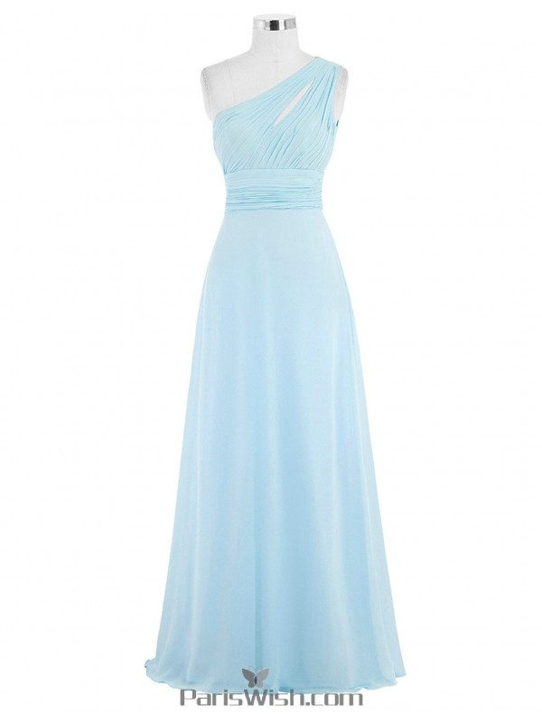 Pleated Chiffon One Shoulder Sky Blue Bridesmaid Dress Plus ...