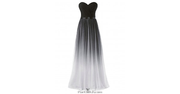 Pleated Strapless White With Black Ombre Prom Evening Dresses