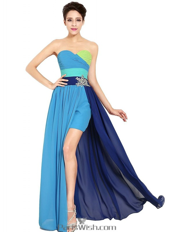 Pleated Sweetheart High Low Multi Color Prom Formal Dresses